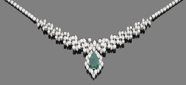 An emerald and diamond necklace/tiara (3)