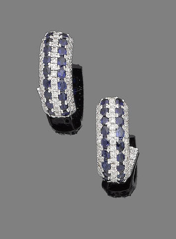 A pair of sapphire and diamond earhoops