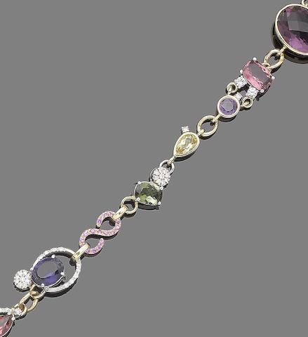 A gem-set and paste bracelet