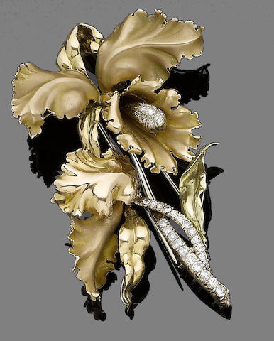 A diamond-set brooch