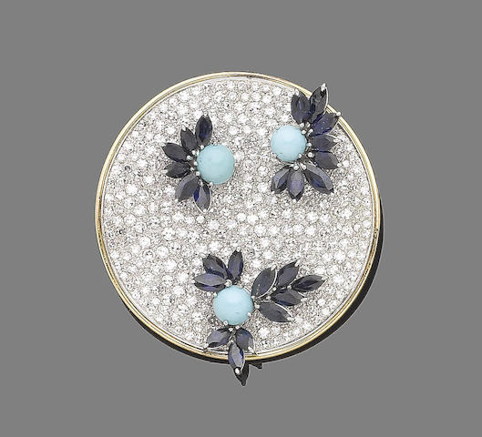 A sapphire, turquoise and diamond pendant/brooch