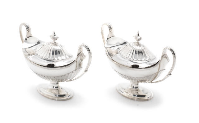 A pair of Victorian silver two-handled covered sauce tureens by Martin Hall & Co, Sheffield 1895  (2)