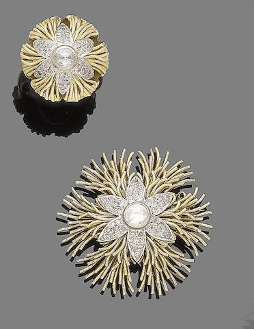 A diamond brooch, earclip and ring suite (3) (partially illustrated)