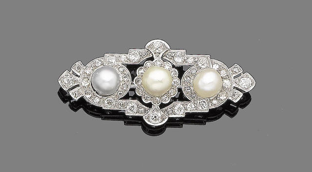 A natural pearl and diamond brooch,