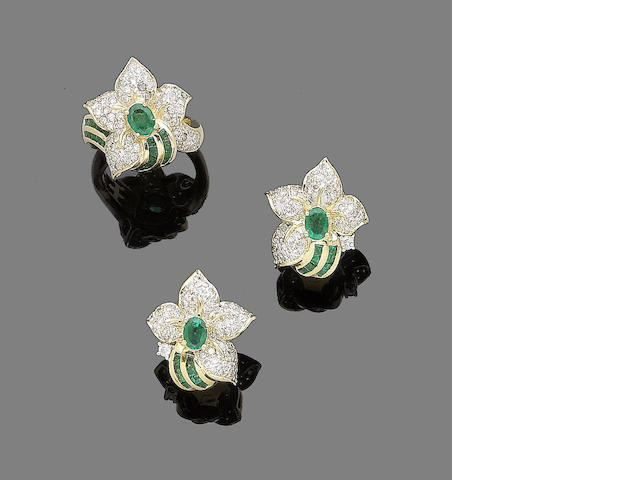 An emerald and diamond ring and earclip suite (2)