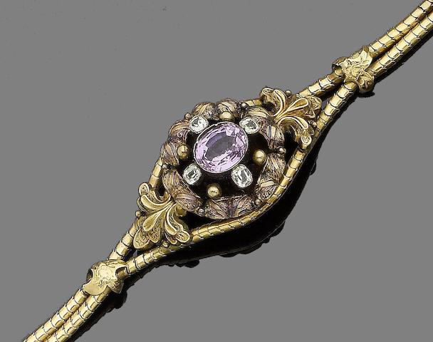 A topaz and chrysoberyl bracelet