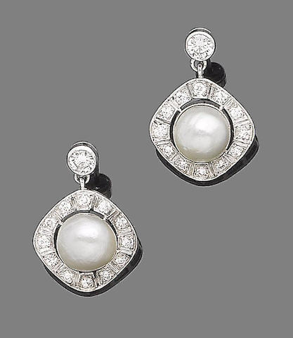 A pair of natural blister pearl and diamond earrings