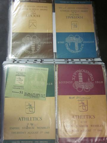 1948,1952 and 1956 Olympic Games programmes, tickets, ephemera