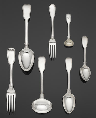 A collected silver Fiddle and Thread pattern table service of flatware varying maker's and dates