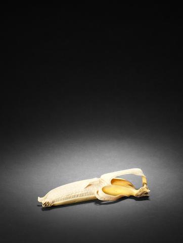 An ivory okimono of a banana By Tamiyuki, Meiji Period