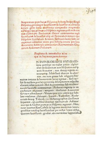 RODERICUS ZAMORENSIS Compendiosa historia Hispanica, Rome, c.1470