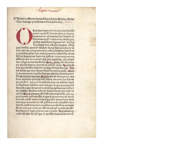 NIDER (JOHANNES) De morali lepra, not after 1475