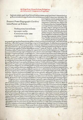 PROPERTIUS (SEXTUS AURELIUS) Elegiae [with commentary by Philippus Beroaldus], Bologna, 1487