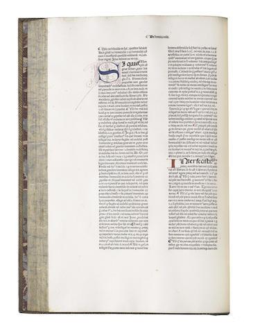 PANORMITANUS DE TUDESCHIS (NICOLAUS) Lectura super V libris Decretalium, vol. 6 (of 6), Venice, 1477