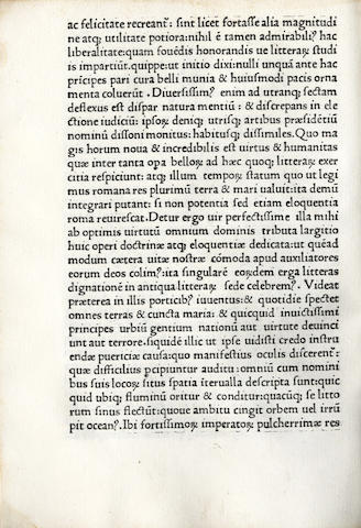 PANEGYRICI. Panegyrici veteres Latini, edited by Franciscus Puteolanus, [Milan, Antonius Zarotus, c.1482]