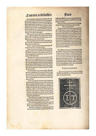 TURRECREMATA )JOANNES DE) Summa de ecclesia contra impugnatores potestatis summi pontificis et LXXIII quaestiones, 1496