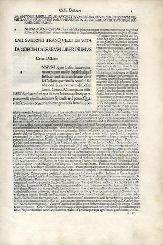 SUETONIUS TRANQUILLUS (GAIUS) Vitae XII Caesarum [Commentary by Marcus Antonius Sabellicus], Venice, 1490