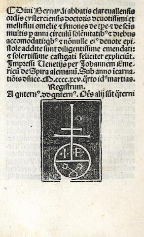 BERNARDUS CLARAVALLENSIS. Sermones de tempore et de sanctis una cum homiliis et epistolis, Venice, 1495