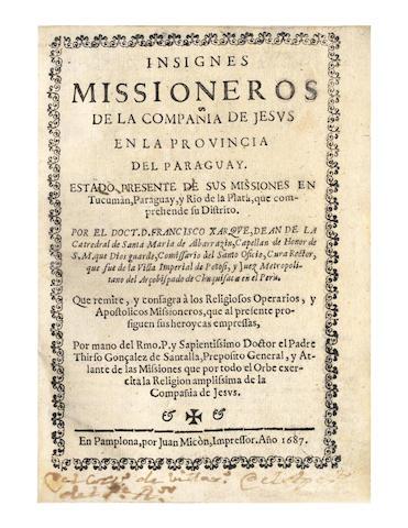 XARQUE (FRANCISCO) Inisgnes misioneros de la Compañía de Jesús en la provincia del Paraguay, 1687