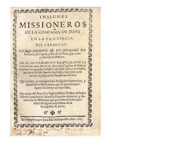 XARQUE (FRANCISCO) Inisgnes Missioneros de la Compania de Jesus en la provincia del Paraguay, 1687