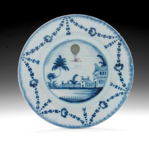 A Lambeth Ballooning plate, circa 1785