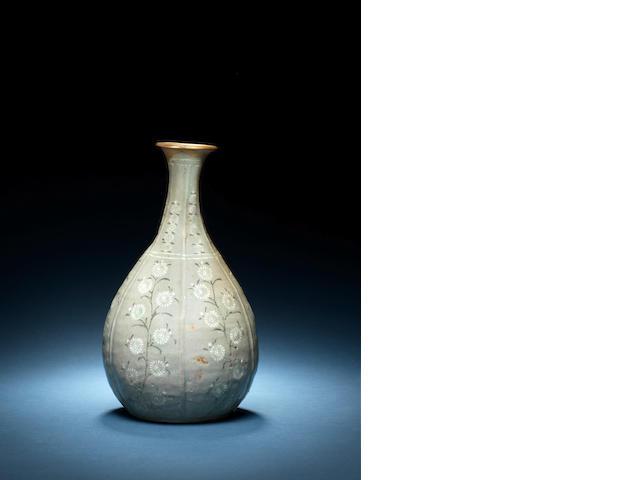 A rare Korean inlaid green-glazed pear-shaped vase Koryo Dynasty, 12th/13th century