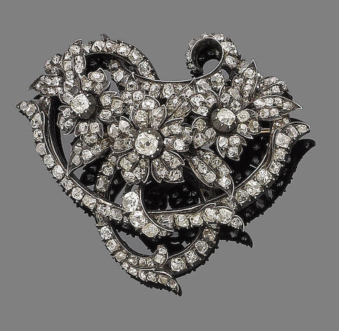 A mid 19th century diamond brooch