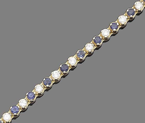 A sapphire and diamond line bracelet,
