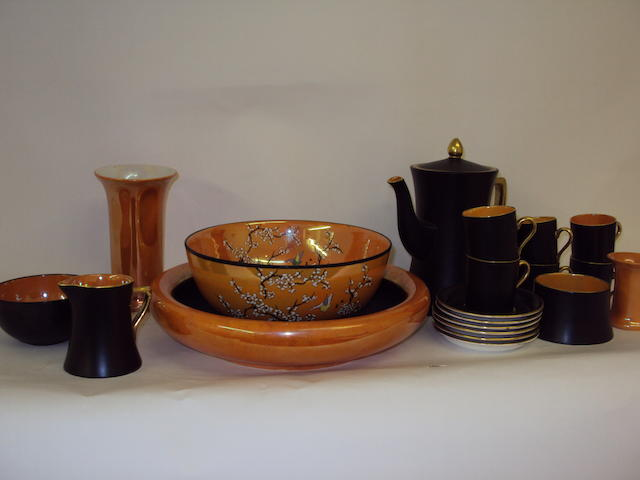 An orange lustre Carlton Ware coffee service