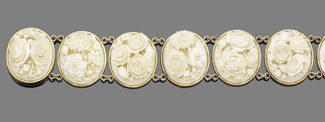 An ivory panel bracelet,