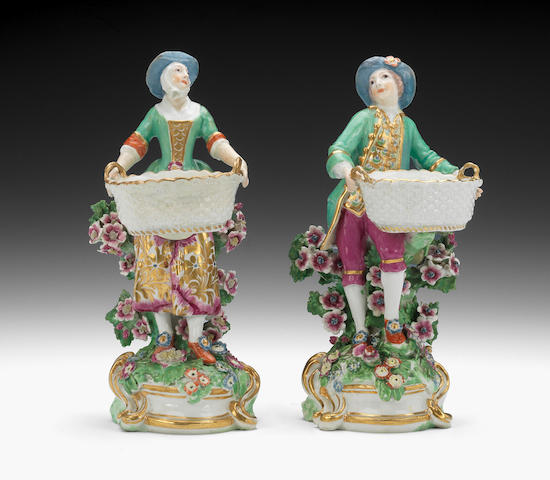 A pair of Chelsea Gallant and Lady circa 1762