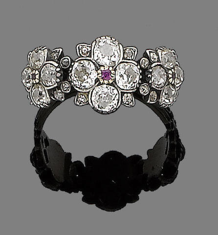 A ruby and diamond ring,