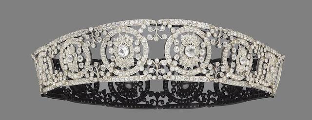 A silver and paste tiara,