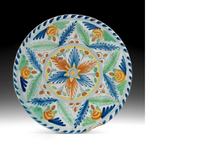 London coloured Delft charger geometric - TO ADVISE CLIENT