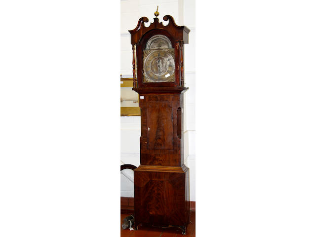 A 19th Century mahogany 8-day longcase clock,the arched moon phase dial signed W. Drew, Lynn, with three train movement striking on a gong and withh 8 bells, the hood with swan neck pediment, 238 high