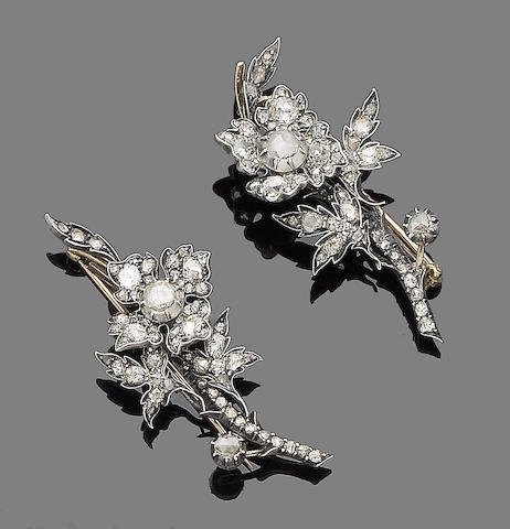 A pair of 19th century diamond flower brooches (2)