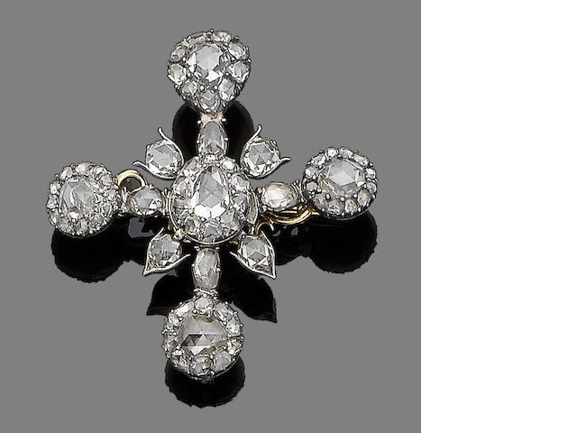 A mid 19th century diamond brooch