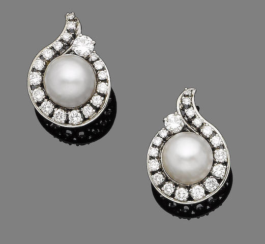 A pair of mabé pearl and diamond earclips