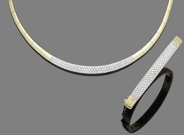 A diamond-set necklace and bangle  (2)