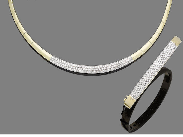 A diamond-set necklace and bangle  (2)