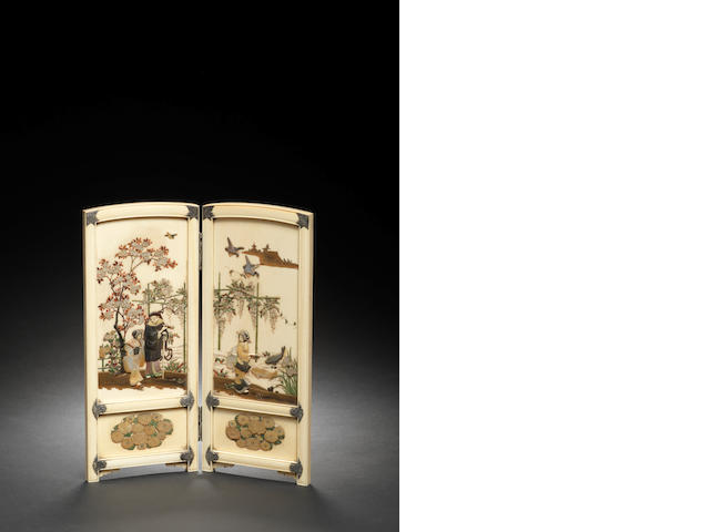 An ivory and Shibayama-inlaid two-leaf tsuitate (table screen) Attributed to Saito Terukazu/Shoichi, Meiji Period