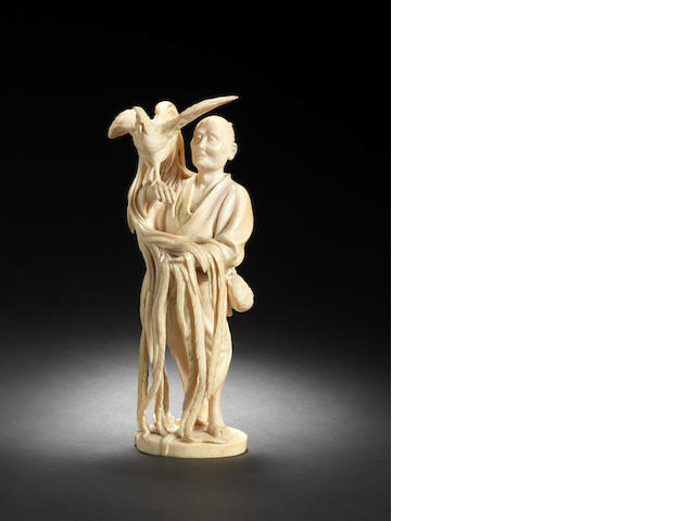 An ivory figure of a poulterer By Ryuichi, Meiji Period