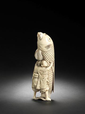 An ivory okimono of Oniwakamaru and carp By Yamaguchi (Chikuyosai) Tomochika III, Meiji Period
