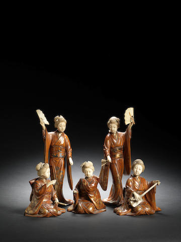 Five lacquered-wood and ivory geisha Meiji Period