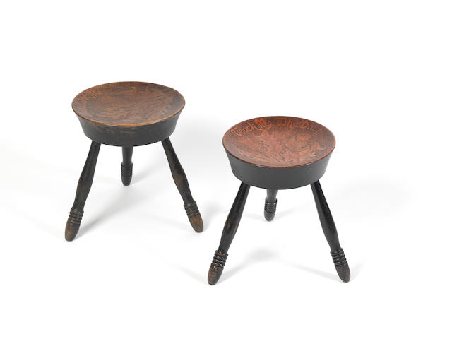 A pair of late 19th/early 20th century  poker work stools