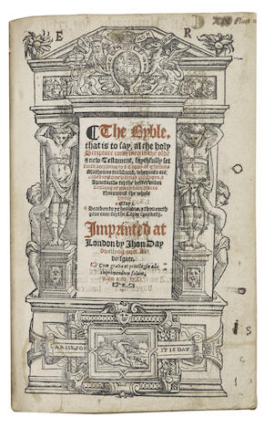BIBLE, 1551, in English, Taverner's and Tyndale's version The Byble, That is to Say, al the Holy Scripture Conteined in the Olde & New Testament, Faythfully Set Forth According to a Coppy of Thoams Matthewes