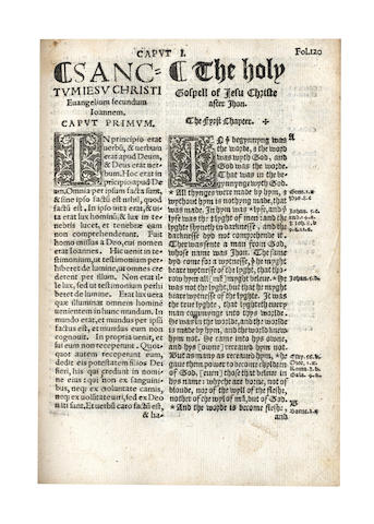 BIBLE, 1538, in English and Latin, Coverdale's version [The Newe Testament both Latine and Englyshe]