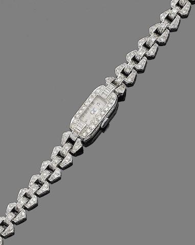 An art deco diamond cocktail watch,