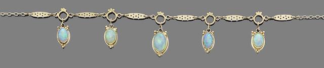 An opal fringe necklace