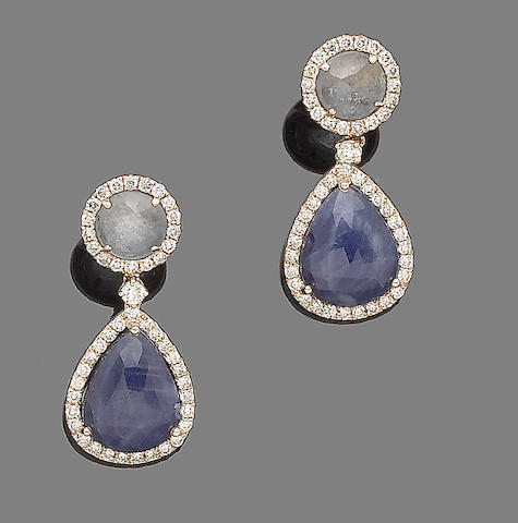A pair of white sapphire, sapphire and diamond pendent earrings